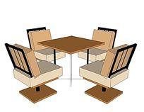 简约旋转座椅组合桌