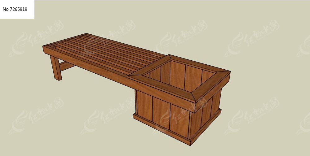 木质座椅连方形花箱skp素材下载