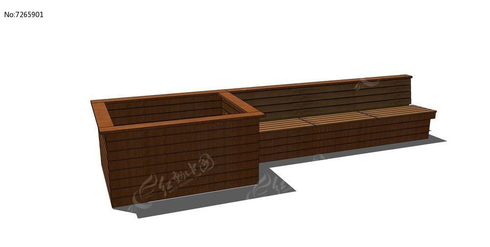 木质座椅连体方形花箱skp素材下载