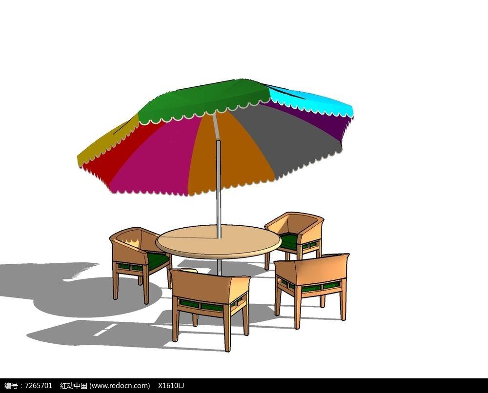 欧式彩虹遮阳伞沙发套桌
