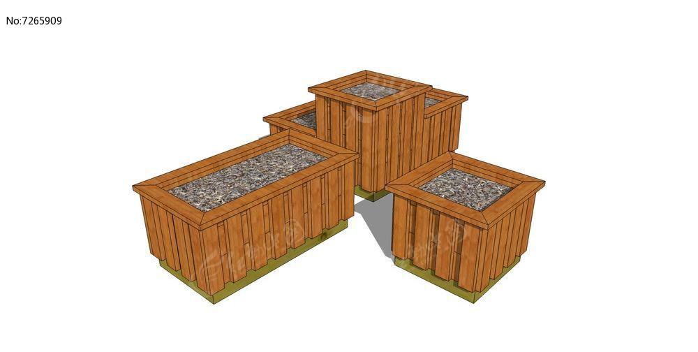 三个木质格栅移动花箱组合