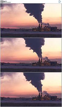 发电厂烟囱排污实拍视频素材