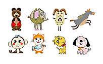 卡通动物标签贴纸AI矢量