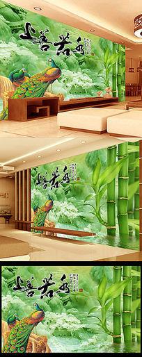 上善若水玉雕竹山水画背景墙