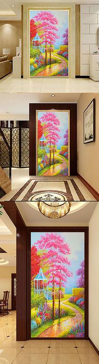 唯美浪漫乡村小径小路玄关门厅油画壁画
