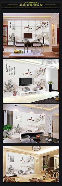 中式山水情水墨画背景墙