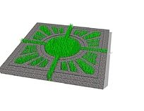 放射花纹铁艺树池 skp