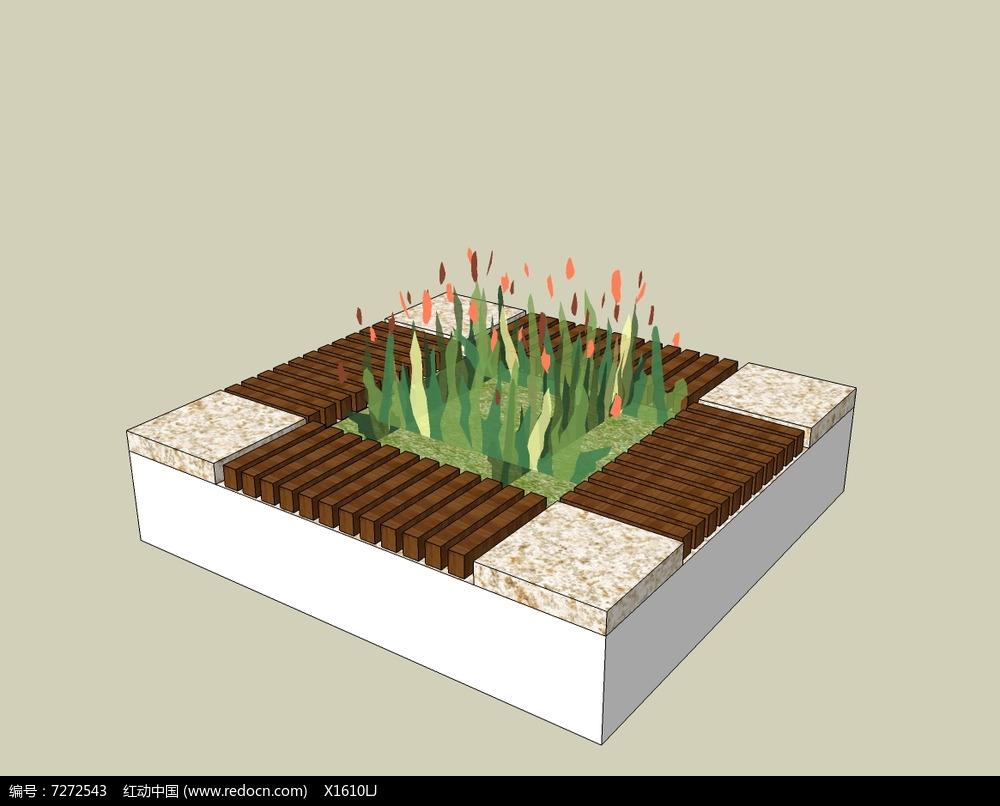 简单方形花坛平面图手绘