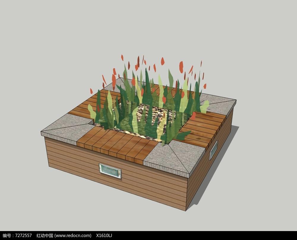 方形木板座椅复合树池skp素材下载_花坛树池设计图片