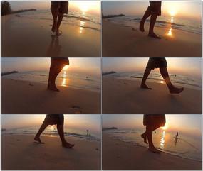 海边沙滩行走脚步视频 mov