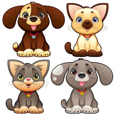 可爱卡通狗猫宠物图案eps素材下载_动物插画设计图片