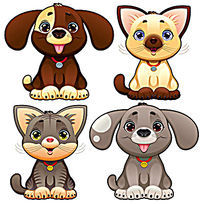 可爱卡通狗猫宠物图案