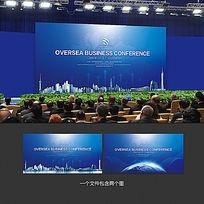 蓝色商务会议背景板设计