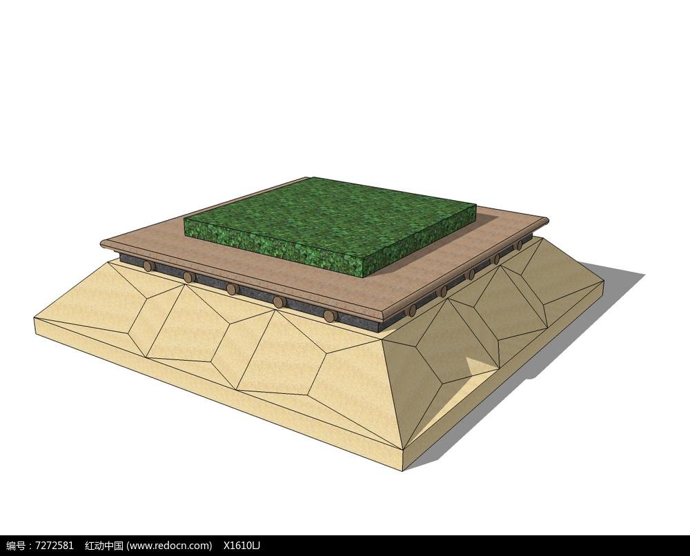 裂冰纹方形树池skp素材下载_花坛树池设计图片