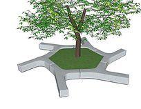 六边形现代树池 skp