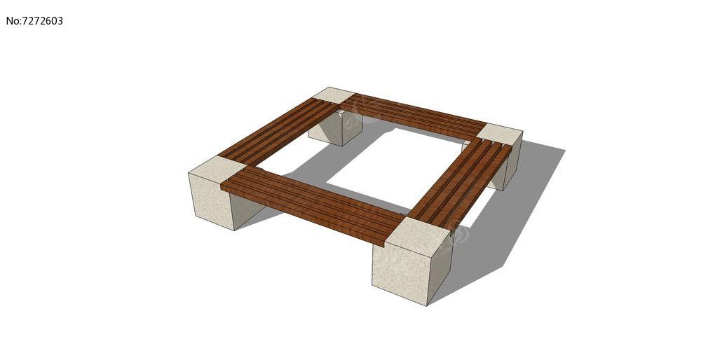 木质树池围栏座椅skp素材下载_室外家具设计图片