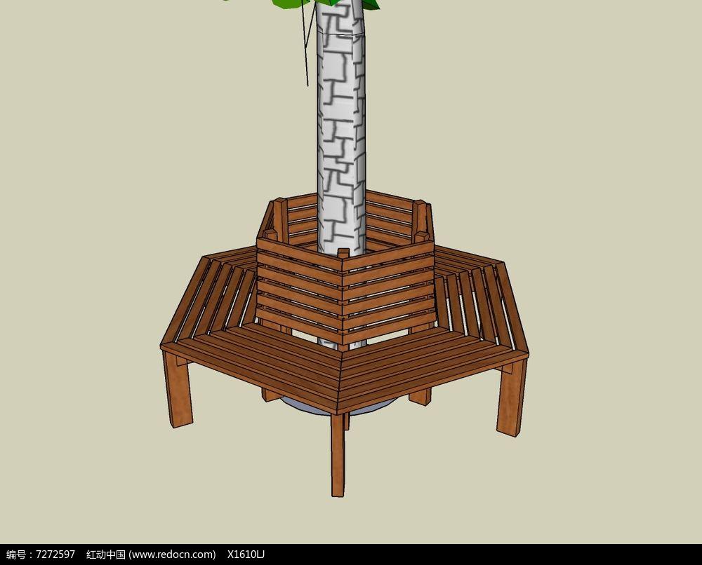 木质围栏多边形树池座椅skp素材下载