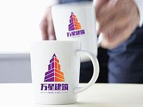双色塔型建筑logo