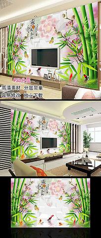 现代清新简约竹子客厅电视背景墙图片