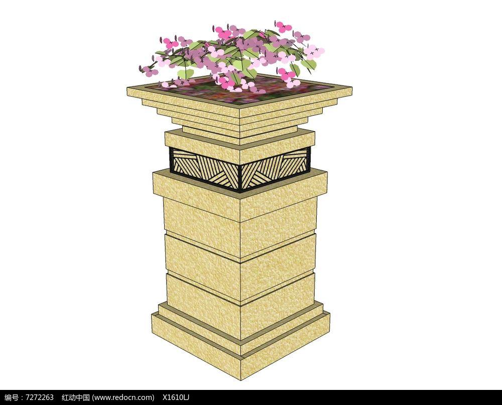 新中式方形柱花钵skp素材下载_花坛树池设计图片