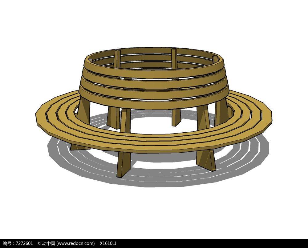 圆形木质靠背树池座椅