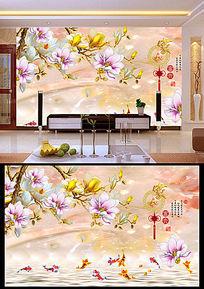 玉雕家和富贵荷花客厅电视背景墙