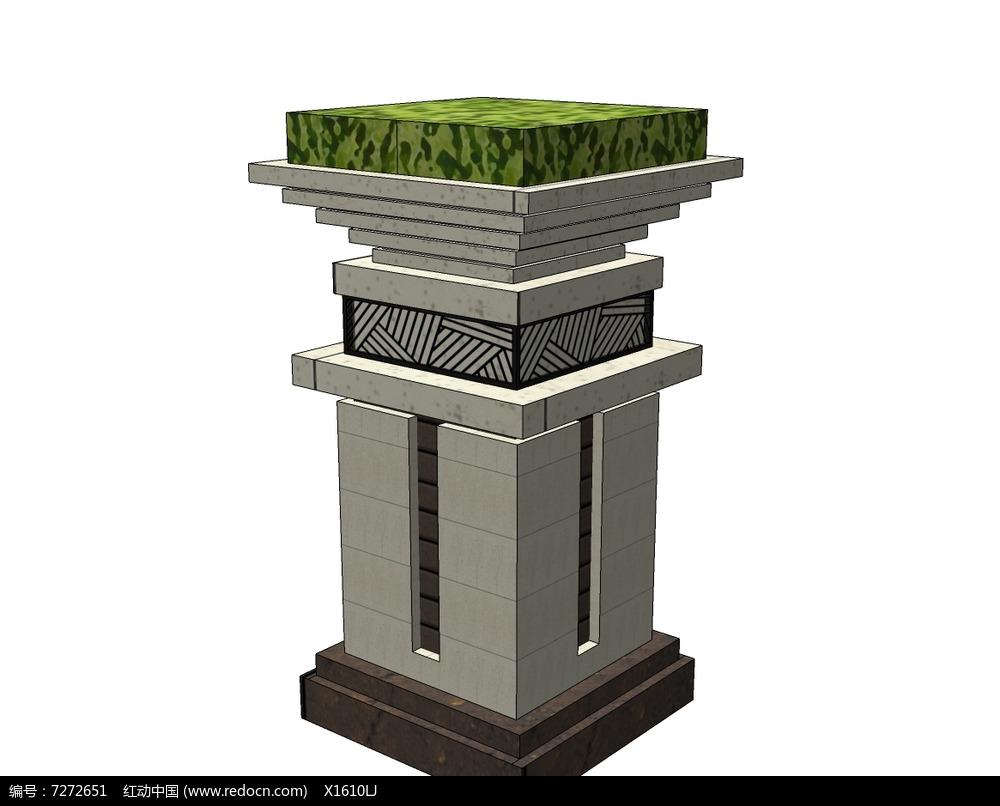 原创设计稿 3d模型库 花坛树池 中式复古矩形花钵  请您分享: 素材图片