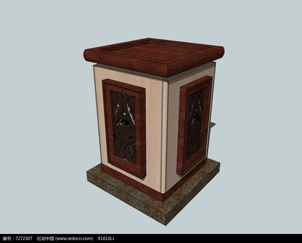 中式复古木质顶花钵