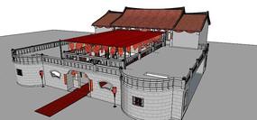 中式婚礼场景模型