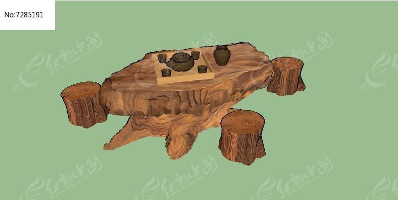 中式树雕茶座SU素材下载_室外家具设计小鸟图片的绘制图片