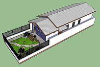 欧式住宅平房小庭院SU模型 skp