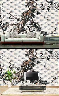 仙鹤松树水墨软包背景墙