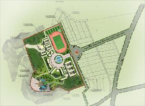 学校景观设计彩色平面图