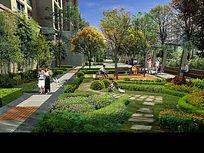 住宅区小场地绿化效果图