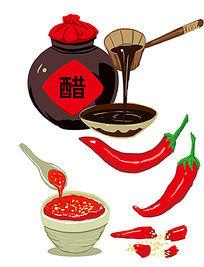 关于醋和辣椒卡通素材设计
