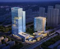 城市中心建筑夜景鸟瞰图 PSD