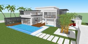 带游泳池模型su别墅湾平面图华侨城别墅苏河图片
