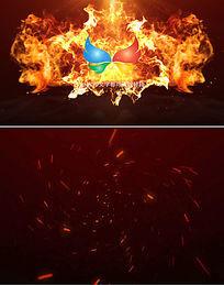 大气火焰燃烧logo开场片头模板