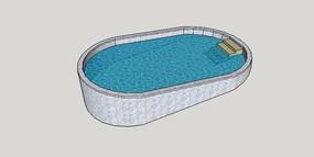 非对称游泳池SU模型 skp