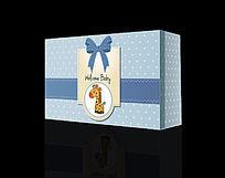卡通可爱长颈鹿蓝色波点鞋盒