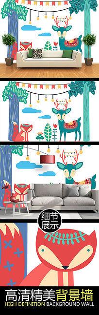 卡通手绘森林儿童房装饰背景墙