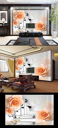 玫瑰花倒影客厅3D电视背景墙