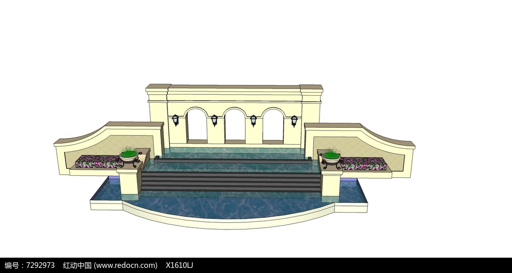 欧式跌水喷泉景墙图片