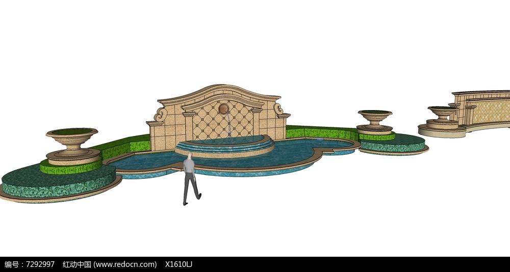 欧式模纹花坛景墙skp素材下载图片