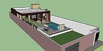 欧式小庭院别墅带游泳池