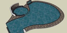 热水浴游泳池模型