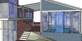 室内游泳池小别墅SKP模型