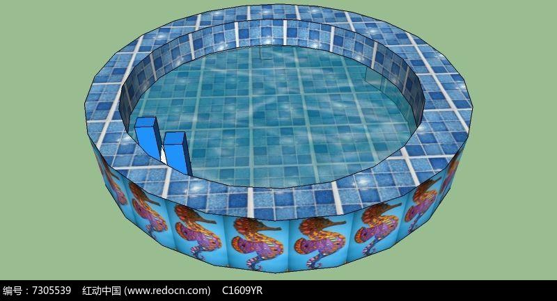 圆形温泉游泳池su模型