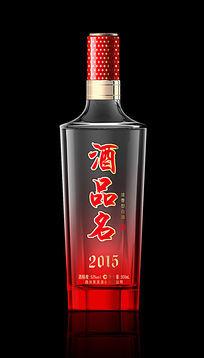 红色渐变白酒瓶