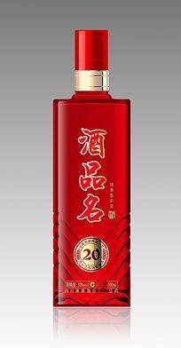 红色透明白酒瓶 PSD